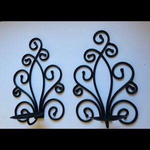 Pair Wrought Iron Wall Candle Holders Sconces
